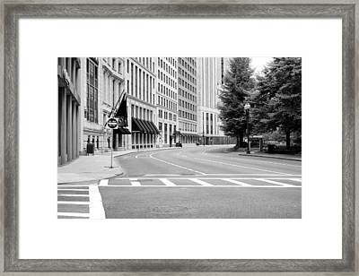 Empty Street In Boston Framed Print