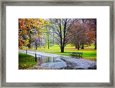 Empty Walkway On A Beautiful Rainy Autumn Day Framed Print by Nishanth Gopinathan