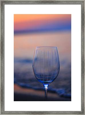 Empty Wine Glass At Sunset Framed Print by Dan Sproul