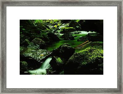 Emerald Pools Framed Print by Jeff Swan