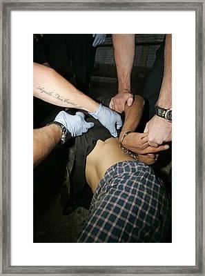 Ems Assesses Violent Patient Framed Print by Kevin Link