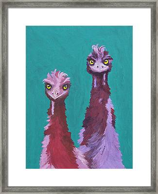 Framed Print featuring the painting Emu Watch by Margaret Saheed