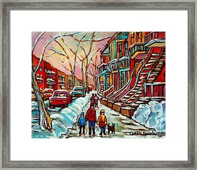 En Hiver Streets Of Verdun Walking The Dog Snowy Streets Montreal Winter City Scene Carole Spandau Framed Print by Carole Spandau
