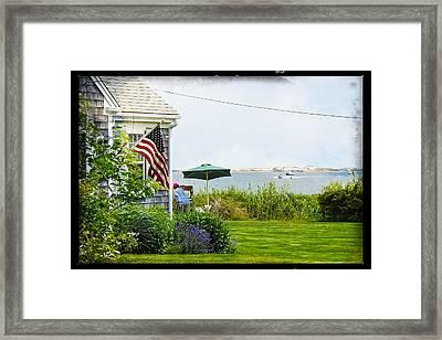 En Plein Air With Flag Framed Print