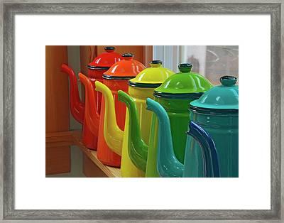 Enamelware Coffee Pots In Orderly Row Framed Print by Jaynes Gallery