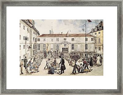 Enchaining Of Prisoners At The Bic�tre Framed Print by Everett