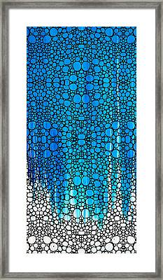 Enchanted - Blue And White Abstract Stone Rock'd Art By Sharon Cummings Framed Print