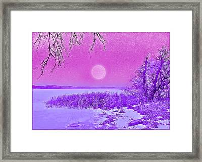 Framed Print featuring the digital art Rosy Hued Moonlit Lake - Boulder County Colorado by Joel Bruce Wallach