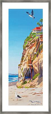 Encinitas Beach Cliffs Framed Print by Mary Helmreich
