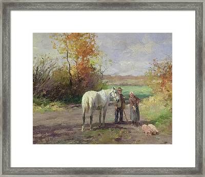 Encounter On The Way To The Field, 1897 Oil On Panel Framed Print by Thomas Ludwig Herbst