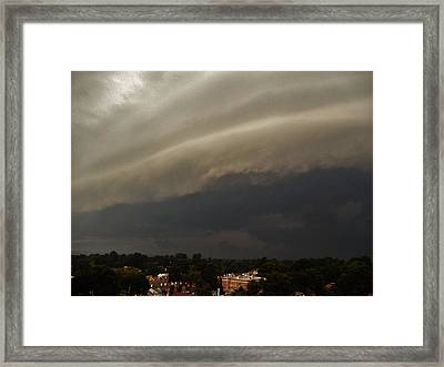 Framed Print featuring the photograph Encroaching Shelf Cloud by Ed Sweeney