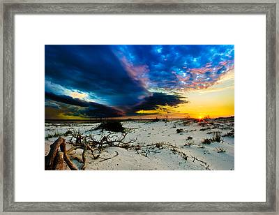 Encroaching Storm Landscape-blue Clouds Sunset Beach Framed Print by Eszra