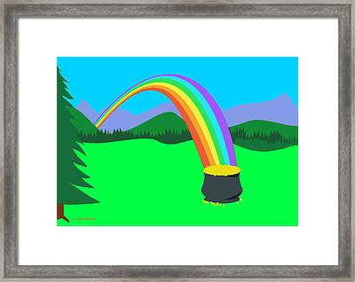 End Of Rainbow Pot Of Gold Framed Print