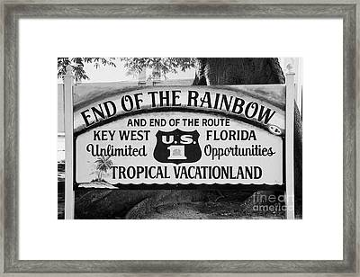 End Of The Rainbow Sign Us Route 1 Key West Florida Usa Framed Print by Joe Fox