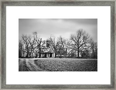 End Of The Road Farmhouse In Bw Framed Print