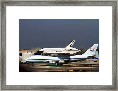 Endeavor And Nasa 747 Taxi After Final Landing Framed Print by Denise Dube