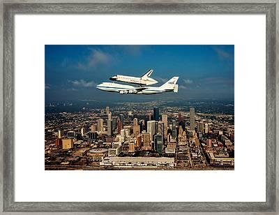 Endeavor Over Houston Framed Print