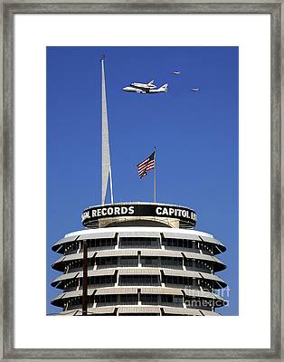 Endeavour Shuttle Over Capitol Records Bldg- Hollywood- With Fighter Jets Framed Print