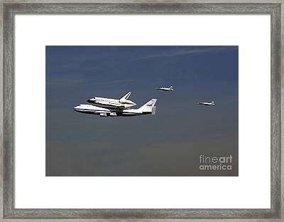 Endeavour Space Shuttle In La With Escort Fighter Jets  Framed Print