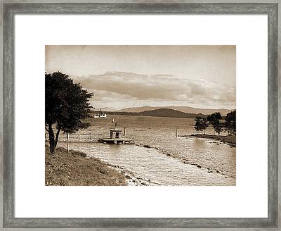 Endicott Rock And Outlet, Lake Winnipesaukee Framed Print by Litz Collection