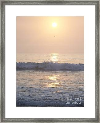 Framed Print featuring the photograph Hampton Beach Wave Ends With A Splash by Eunice Miller