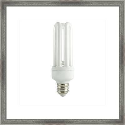 Energy Saving Lightbulb Framed Print by Science Photo Library