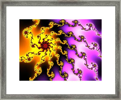 Energy - Yellow Purple And Red Digital Fractal Artwork Framed Print by Matthias Hauser