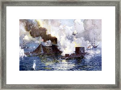Engagement Between The Confederate Ironclad Merrimac Also Called Virginia And Monitor Framed Print