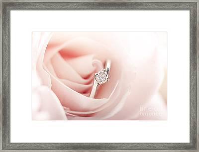 Engagement Ring In Pink Rose Framed Print by Jelena Jovanovic