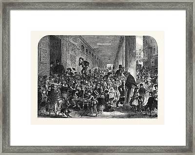 Engaging Children For The Christmas Pantomime At Drury Lane Framed Print