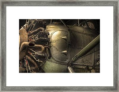 Radial Engine And Fuselage Detail - Radial Engine Aluminum Fuselage Vintage Aircraft Framed Print