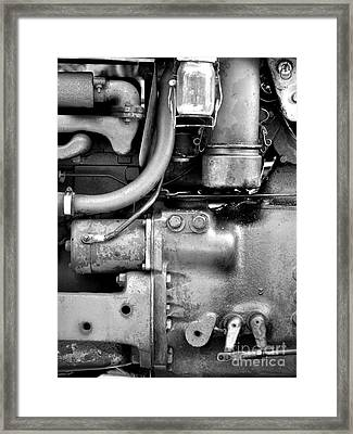 Engine Black And White Framed Print