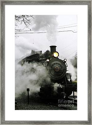 Engine Number 40 Making Steam Pulling Into New Hope Passenger Train Terminal Framed Print