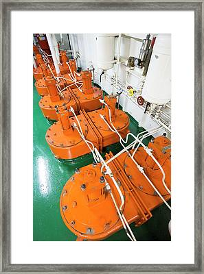 Engine Room On Russian Research Vessel Framed Print by Ashley Cooper