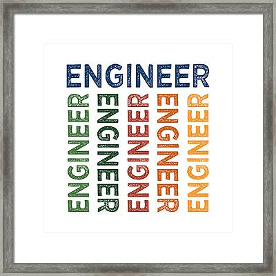 Engineer Cute Colorful Framed Print by Flo Karp