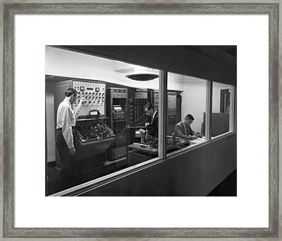 Engineers Use Analog Computers Framed Print by Underwood Archives