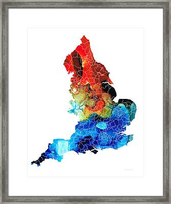 England - Map Of England By Sharon Cummings Framed Print