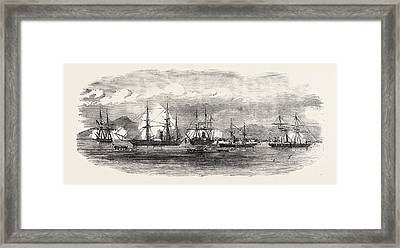 English And French Steamers In The Harbour Of Gonaive Framed Print
