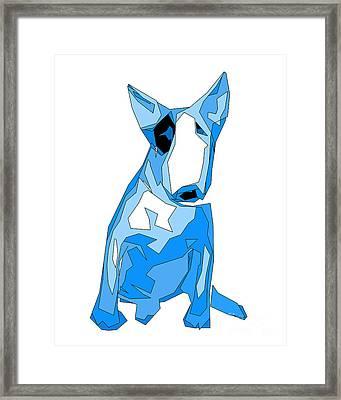 English Bull Terrier Blue Dog Framed Print by   Alex