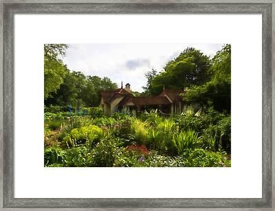 English Cottage Garden - Lush Summer Green In Watercolor Framed Print by Georgia Mizuleva