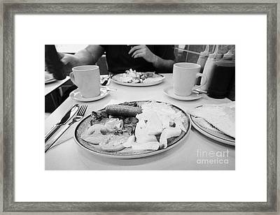 English Fried Breakfast For Two In A Greasy Spoon Cafe In Central London England Uk Framed Print