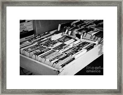 english language used books for sale on a stall Vancouver BC Canada Framed Print
