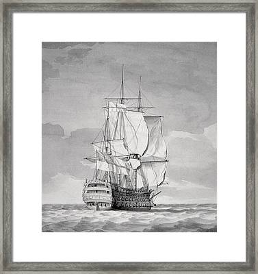 English Line-of-battle Ship, 18th Century Framed Print by Charles Brooking