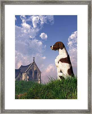 English Pointer And Little Church Framed Print