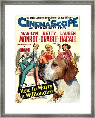 English Pointer Art Canvas Print - How To Marry A Millionaire Movie Poster Framed Print by Sandra Sij