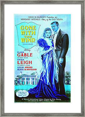 English Poster Of Gone With The Wind Framed Print by Art Cinema Gallery