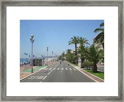 English Promenade At Nice Framed Print by Tommy Budd