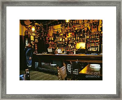 English Pub At Christmas-time Uk 1980s Framed Print by David Davies