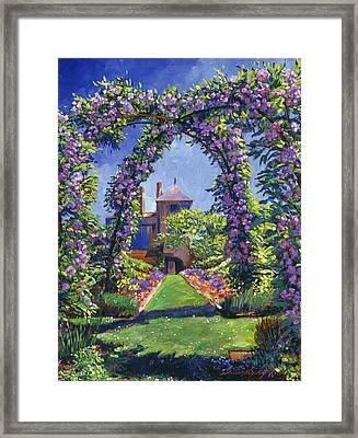 English Rose Arbor Framed Print by David Lloyd Glover
