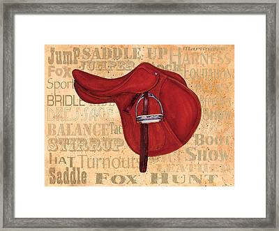English Saddle - Tea Stained Framed Print